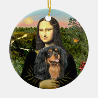 Mona Lisa - Cavalier (black/tan) Round Ceramic Decoration