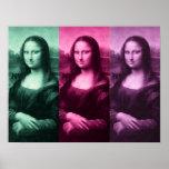 Mona Lisa Green Pink Purple Poster