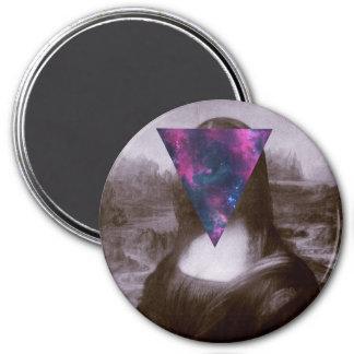 Mona lisa hipster. 7.5 cm round magnet