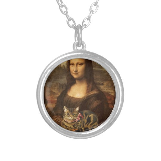 Mona Lisa Holding Cat Silver Plated Necklace
