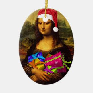 Mona Lisa In Christmas Mood Christmas Ornament