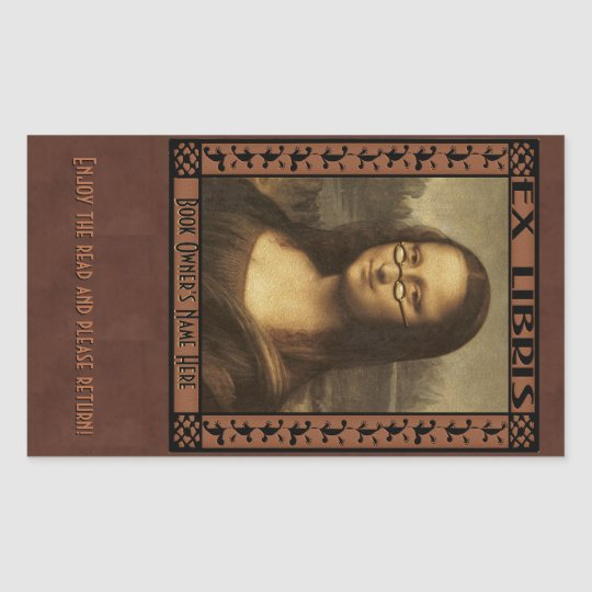 Mona Lisa in Reading Glasses (Personalised) Rectangular Sticker