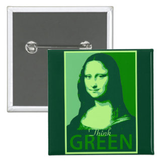 Mona Lisa is Green 15 Cm Square Badge