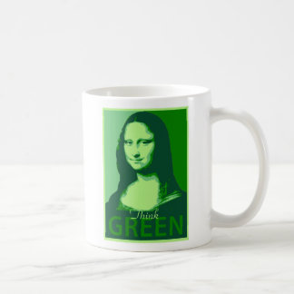 Mona Lisa is Green Basic White Mug