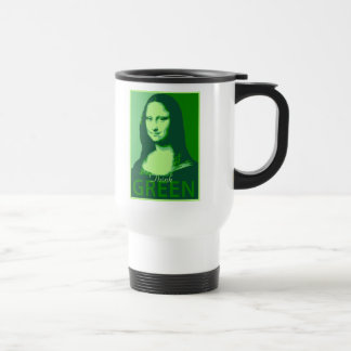 Mona Lisa is Green Stainless Steel Travel Mug