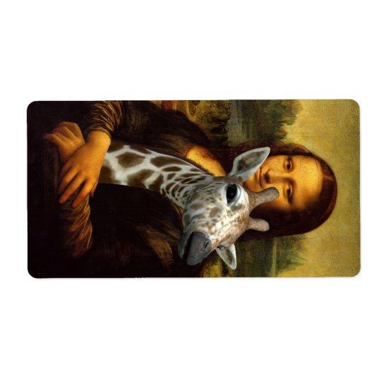 Mona Lisa Loves Giraffes Shipping Label