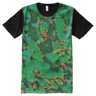 Mona Lisa Modern Green Splash Portrait All-Over Print T-Shirt
