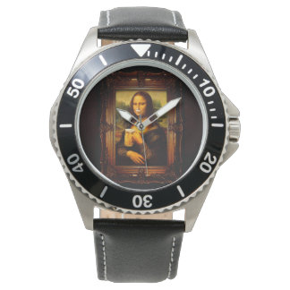 Mona lisa - mona lisa beer  - funny mona lisa-beer wrist watches