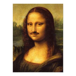 mona lisa mustache 14 cm x 19 cm invitation card