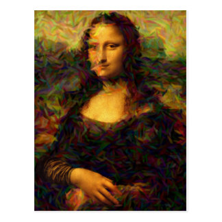 mona lisa paris postcard