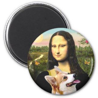 Mona Lisa - Pembroke Welsh Corgi 7b 6 Cm Round Magnet