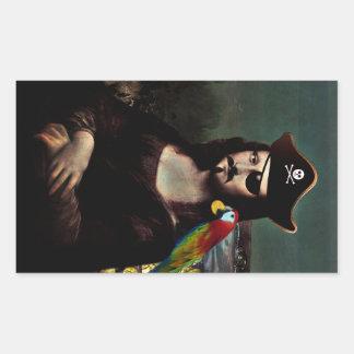 Mona Lisa Pirate Captain - Mustache Rectangular Sticker