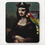 Mona Lisa Pirate Captain With a Moustache Mouse Pad