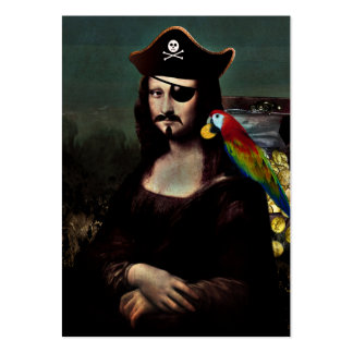 Mona Lisa Pirate Captain With Mustache Large Business Cards (Pack Of 100)
