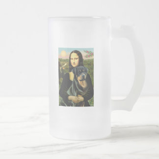 Mona Lisa - Rottweiler (#3) Frosted Glass Beer Mug