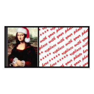 Mona Lisa s Santa Hat Photo Card