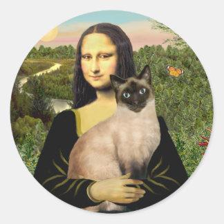Mona Lisa - Seal Point Siamese cat Round Sticker