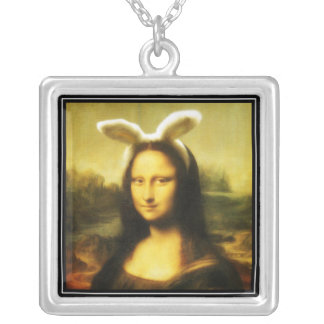 Mona Lisa The Easter Bunny Silver Plated Necklace