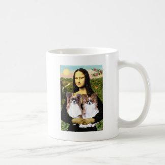 Mona Lisa - two Papillons Basic White Mug
