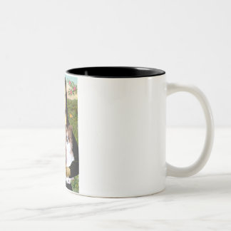 Mona Lisa - two Papillons Two-Tone Coffee Mug