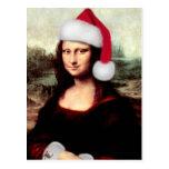 Mona Lisa Wearing a Santa Hat Post Card
