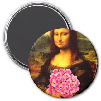 Mona Lisa With Bouquet Of Pink Roses 7.5 Cm Round Magnet