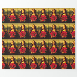 Mona Lisa With Bouquet Of Red Roses Wrapping Paper