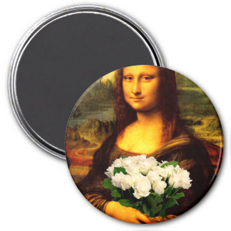 Mona Lisa With Bouquet Of White Roses 7.5 Cm Round Magnet