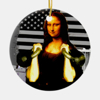 Mona Lisa with KettleBells Christmas Ornament