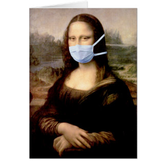 Mona Lisa with Mask Da Vinci Spoofing The Arts Greeting Card