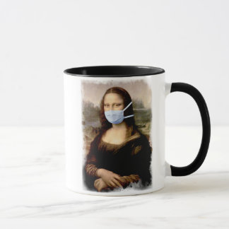 Mona Lisa with Mask Da Vinci Spoofing The Arts Mug