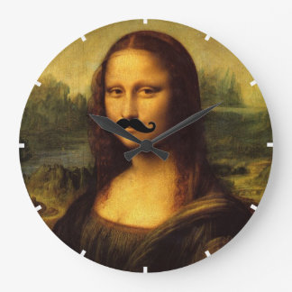Mona Lisa With Mustache Large Clock