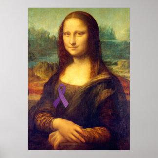 Mona Lisa With Purple Ribbon Print
