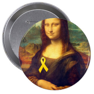 Mona Lisa With Yellow Ribbon Buttons