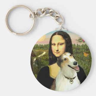 Mona Lisa's Borzoi Key Ring
