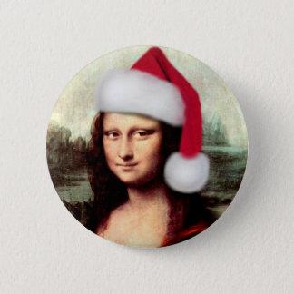 Mona Lisa's Christmas Santa Hat 6 Cm Round Badge