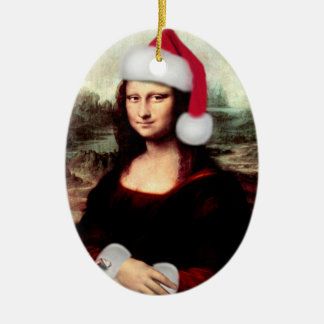 Mona Lisa's Christmas Santa Hat Ceramic Oval Decoration