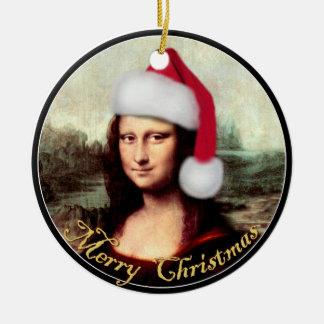Mona Lisa's Christmas Santa Hat Christmas Ornament