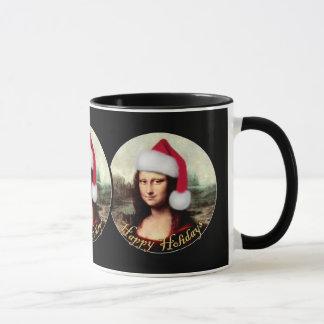 Mona Lisa's Christmas Santa Hat Mug