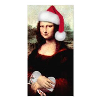Mona Lisa's Christmas Santa Hat Photo Cards