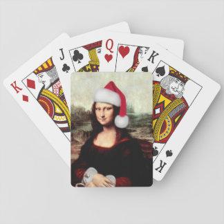 Mona Lisa's Christmas Santa Hat Playing Cards