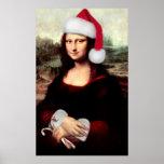 Mona Lisa's Christmas Santa Hat Poster