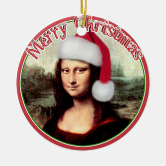 Mona Lisa's Christmas Santa Hat Round Ceramic Decoration