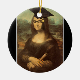 Mona Lisa's Graduation Day Double-Sided Ceramic Round Christmas Ornament