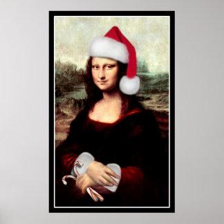 Mona Lisa's Santa Hat Poster