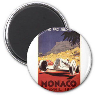 Monaco 1935 Grand Prix poster design 6 Cm Round Magnet