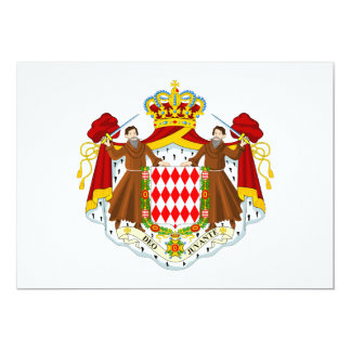 Monaco Coat of Arms 13 Cm X 18 Cm Invitation Card