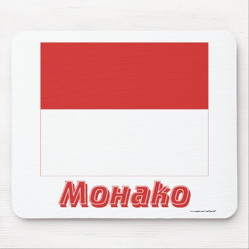 Monaco Flag with name in Russian Mouse Pad