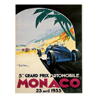 Monaco Grand Prix Automobile Postcard