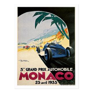 Monaco Grand Prix Automobile Vintage Art Post Card